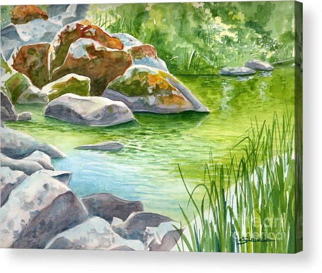 River Acrylic Print featuring the painting The Rocks by Christian Simonian