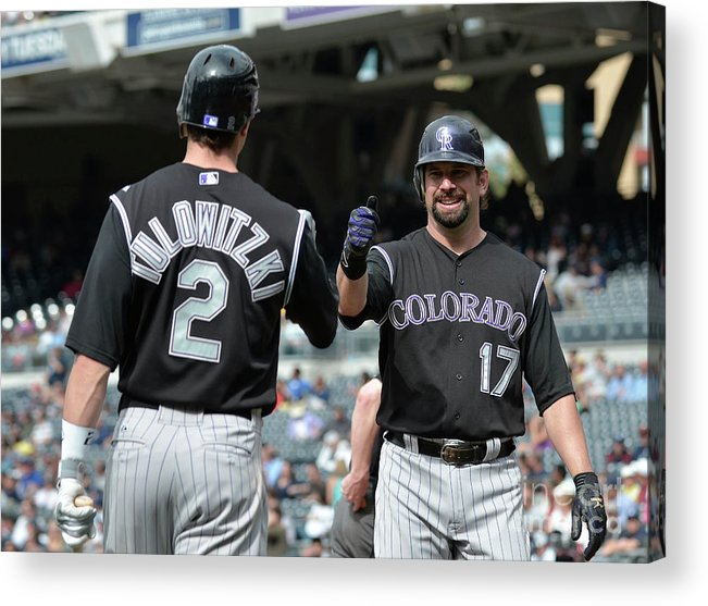 People Acrylic Print featuring the photograph Todd Helton and Troy Tulowitzki by Denis Poroy
