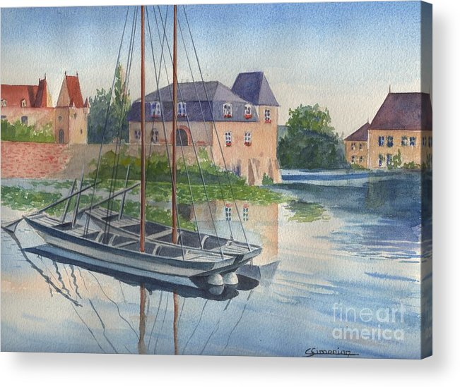 Small Boat Acrylic Print featuring the painting Toues on le Loir by Christian Simonian