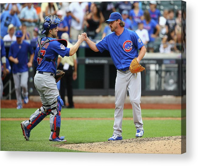 People Acrylic Print featuring the photograph Travis Wood and Miguel Montero by Al Bello