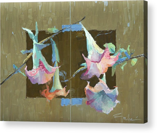 Trumpet Flower Acrylic Print featuring the painting Trumpet Duos by Cathy Locke