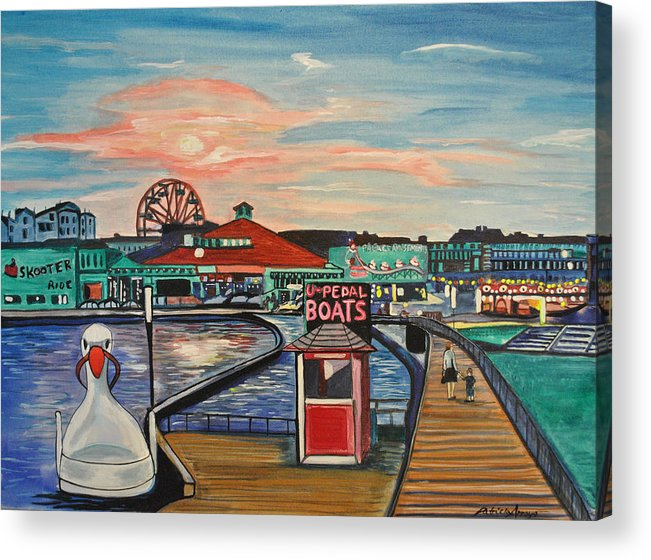 Asbury Art Acrylic Print featuring the painting U-Pedal the Boat by Patricia Arroyo