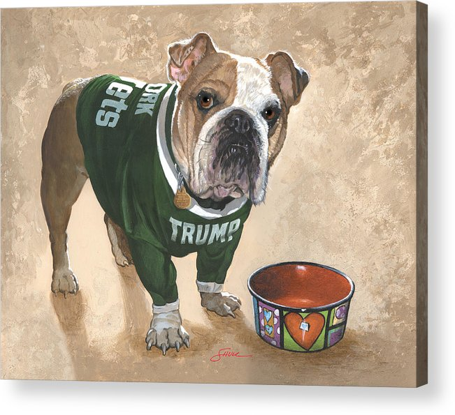 English Bulldog Acrylic Print featuring the painting Whats For Dinner by Harold Shull