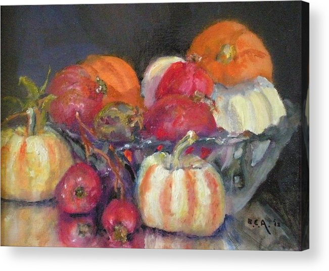 Still-lifein Oil; Ceramic Bowl With Mini Pumpkins With A Group Of Local Zander Pomogranates... Acrylic Print featuring the painting     Pumpkins And Pomogranates' by Bryan Alexander