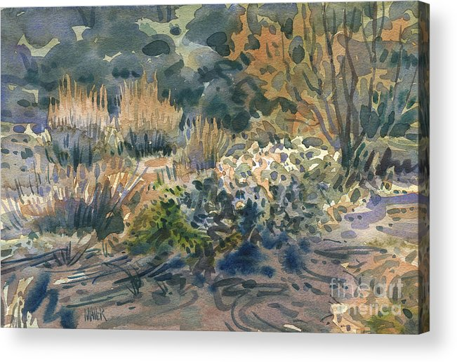 Desert Acrylic Print featuring the painting High Desert Flora by Donald Maier