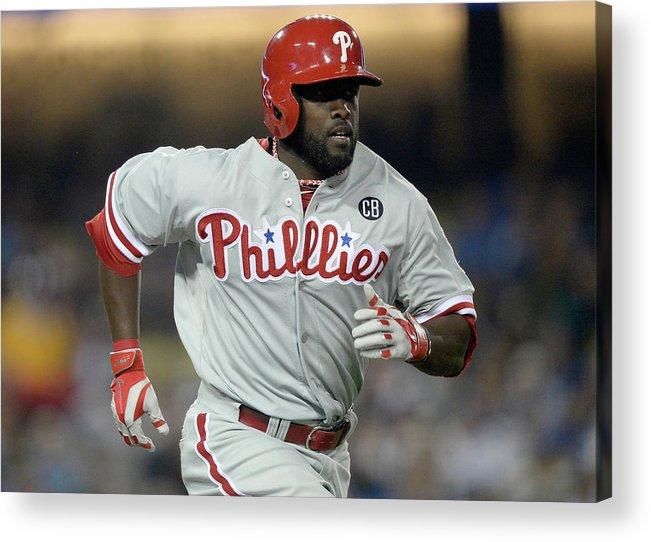Tony Gwynn Jr. Acrylic Print featuring the photograph Philadelphia Phillies V Los Angeles by Harry How