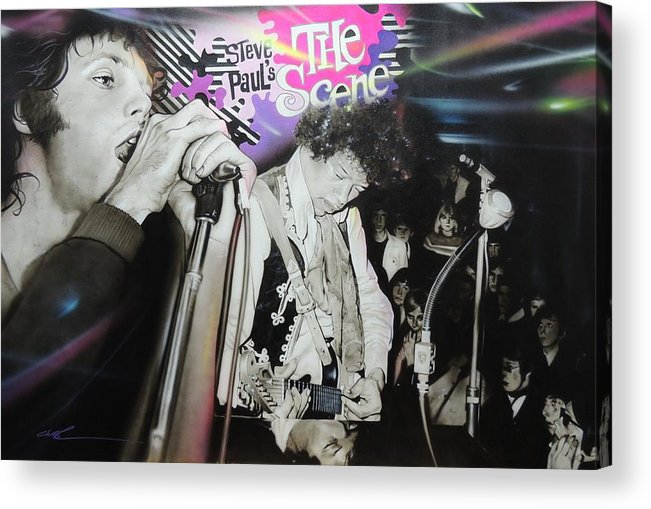 Jimi Hendrix Acrylic Print featuring the painting The Scene by Christian Chapman Art