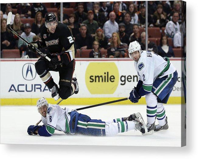 National Hockey League Acrylic Print featuring the photograph Vancouver Canucks V Anaheim Ducks by Jeff Gross