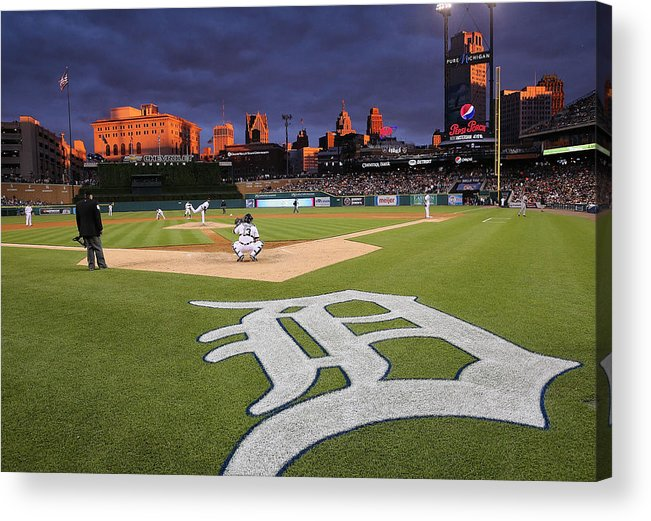 American League Baseball Acrylic Print featuring the photograph Minnesota Twins V Detroit Tigers by Leon Halip