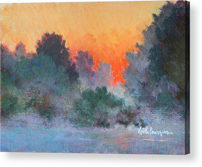 Impressionism Acrylic Print featuring the painting Dawn Mist by Keith Burgess