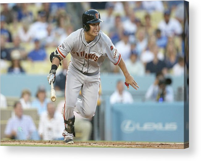 People Acrylic Print featuring the photograph San Francisco Giants V Los Angeles by Stephen Dunn