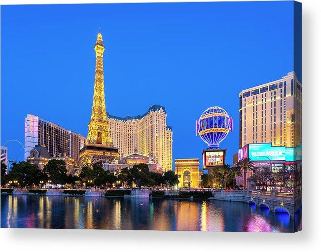Las Vegas Replica Eiffel Tower Acrylic Print featuring the photograph Usa, Nevada, Las Vegas, Paris Las Vegas by Sylvain Sonnet