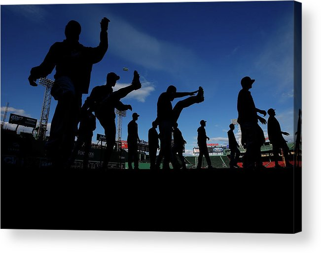 People Acrylic Print featuring the photograph Cincinnati Reds V Boston Red Sox by Jared Wickerham
