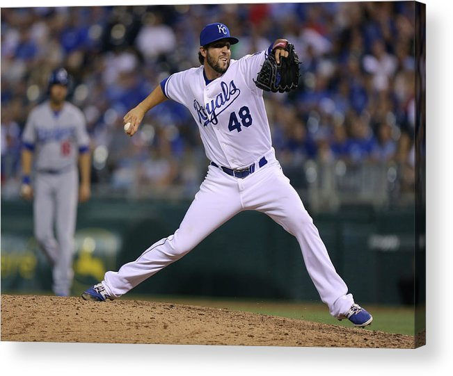 Ninth Inning Acrylic Print featuring the photograph Los Angeles Dodgers V Kansas City Royals by Ed Zurga