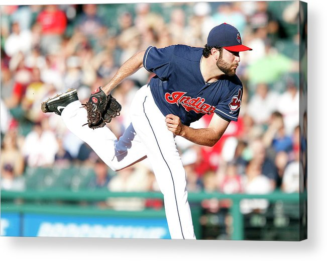 American League Baseball Acrylic Print featuring the photograph Boston Red Sox V Cleveland Indians by David Maxwell