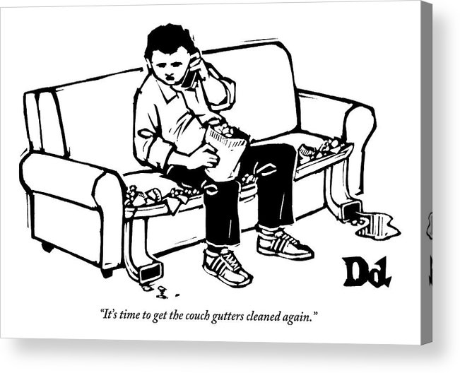 Couch Potato Acrylic Print featuring the drawing A Man Talking The Phone by Drew Dernavich