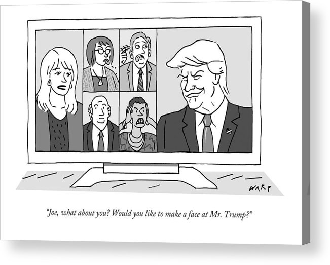 Newscasters Acrylic Print featuring the drawing A Screen Split Between Trump And Five Pundits by Kim Warp