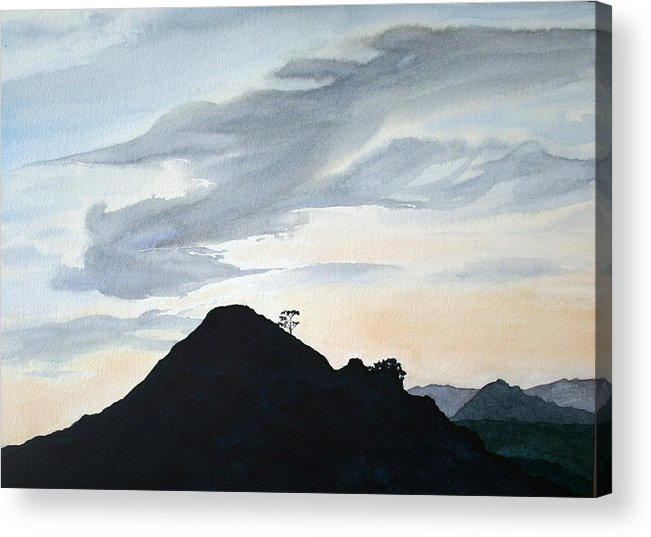 Landscape Acrylic Print featuring the painting Alicante Sunset by Monika Degan