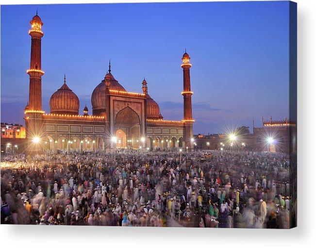 Arch Acrylic Print featuring the photograph Alvida Juma Twilight At Jama Masjid by Nimit Nigam