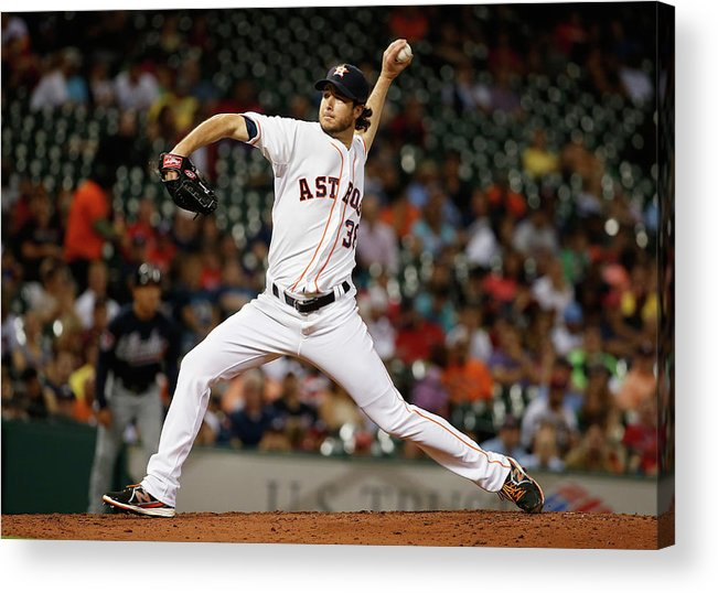 American League Baseball Acrylic Print featuring the photograph Atlanta Braves V Houston Astros by Scott Halleran