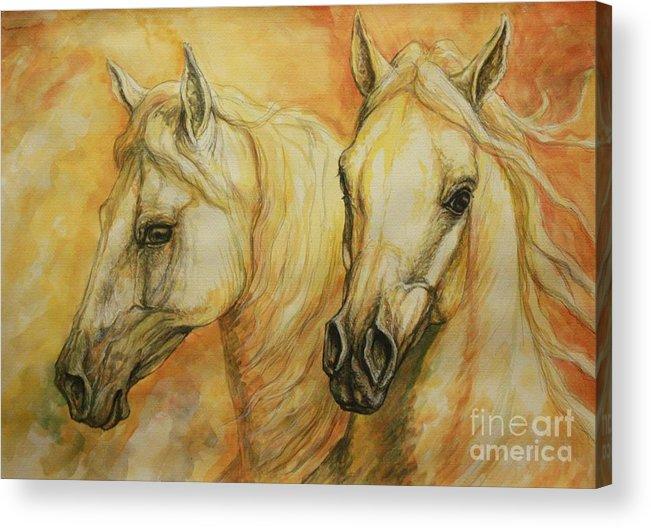 Horse Acrylic Print featuring the painting Autumn Horses by Silvana Gabudean Dobre
