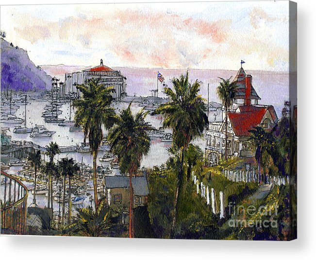 California Acrylic Print featuring the painting Avalon Harbor Early Morning by Randy Sprout