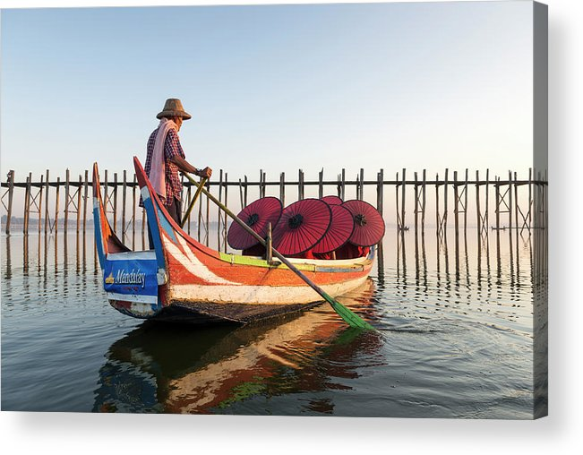 Young Men Acrylic Print featuring the photograph Buddhist Monks And Sightseeing Boat by Martin Puddy