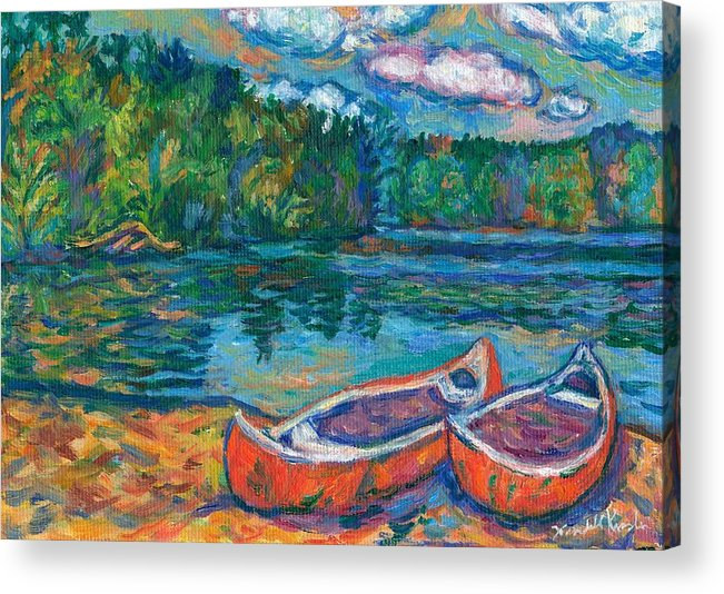 Landscape Acrylic Print featuring the painting Canoes at Mountain Lake Sketch by Kendall Kessler