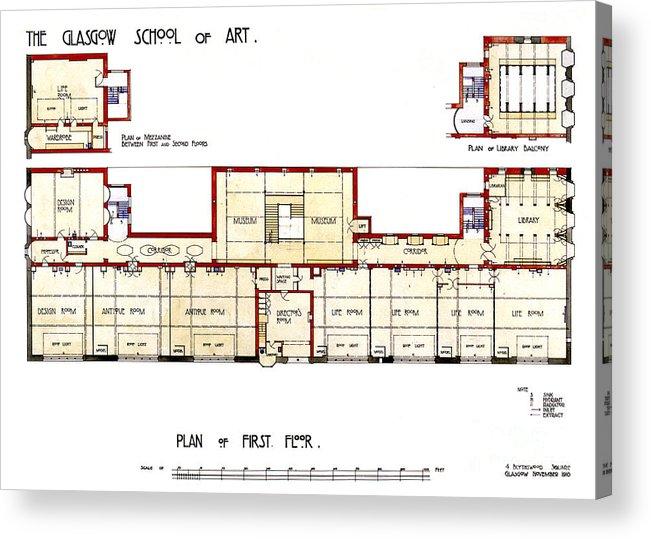 Charles Rennie Mackintosh Glasgow School Of Art Plan Of First Floor Acrylic Print By Elaine Mackenzie
