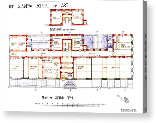 Charles Rennie Mackintosh Glasgow School Of Art Plan Of Ground Floor Acrylic Print By Elaine Mackenzie