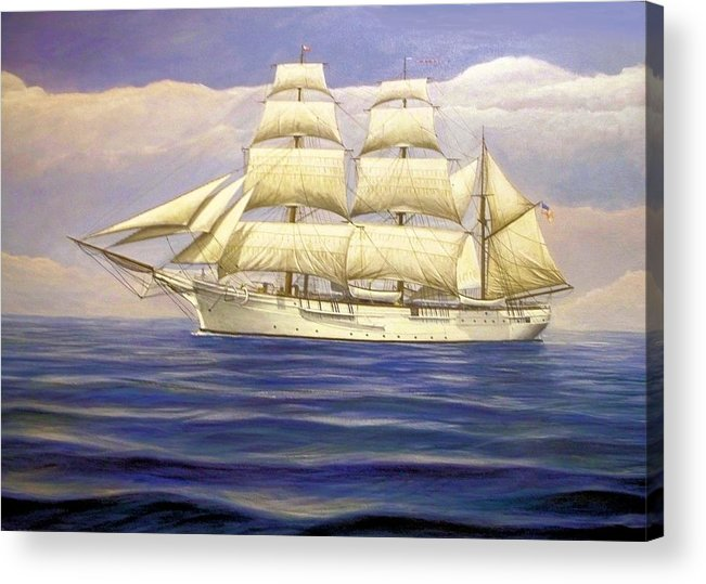 Tall Ships Acrylic Print featuring the painting Coast Guard CutterChase by William Ravell