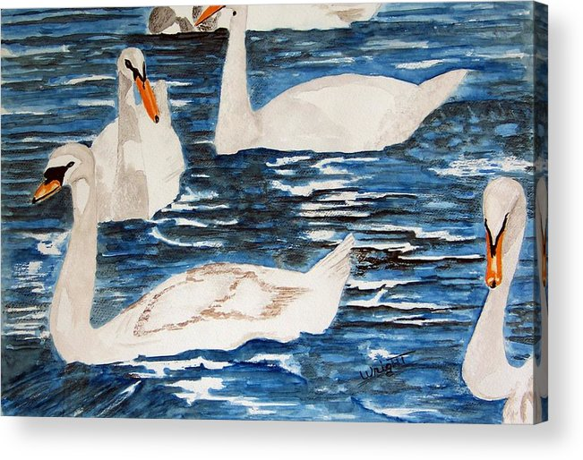 England Art Acrylic Print featuring the painting English Swan In The Queen's Garden by Larry Wright