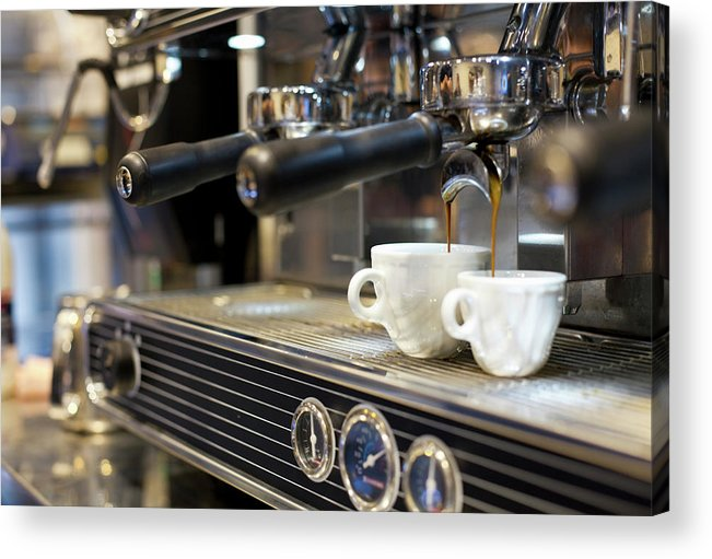 Making Acrylic Print featuring the photograph Espresso Machine Pouring Coffee Into by Kathrin Ziegler
