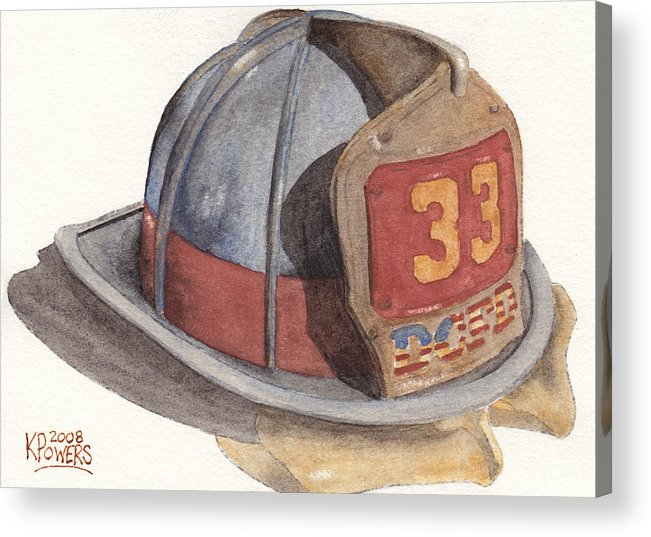 Fire Acrylic Print featuring the painting Firefighter Helmet With Melted Visor by Ken Powers