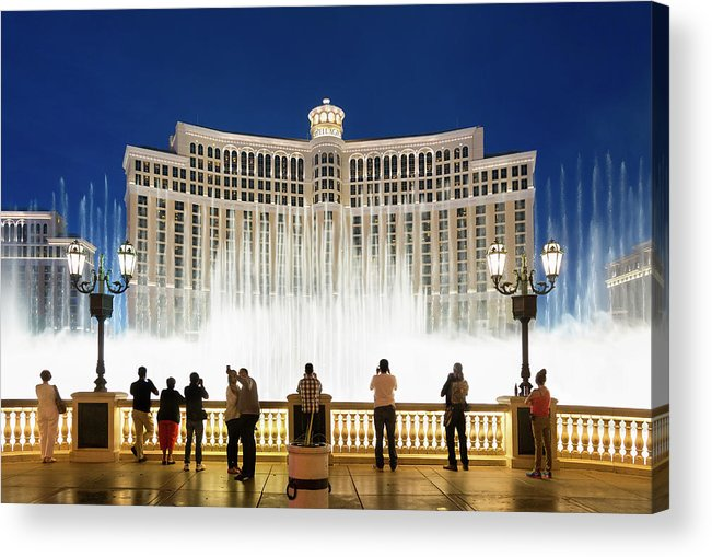 People Acrylic Print featuring the photograph Fountains Of Bellagio, Bellagio Resort by Sylvain Sonnet