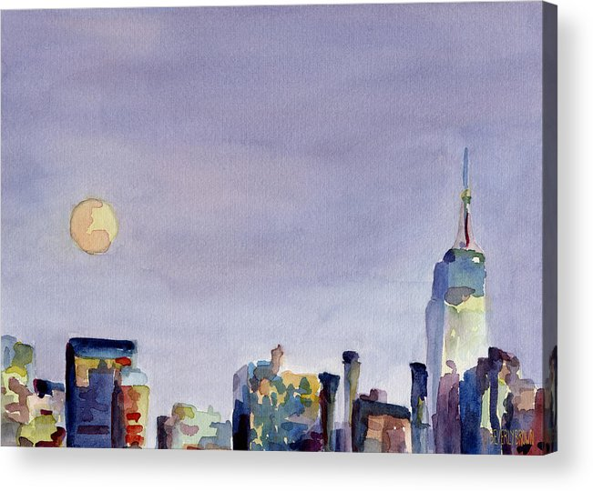 New York Acrylic Print featuring the painting Full Moon And Empire State Building Watercolor Painting Of Nyc by Beverly Brown