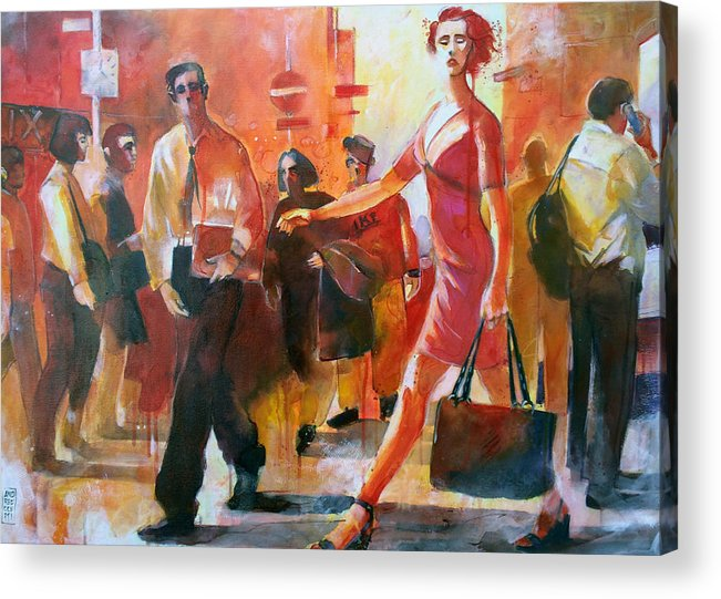 Street Life Acrylic Print featuring the painting Gente per strada by Alessandro Andreuccetti