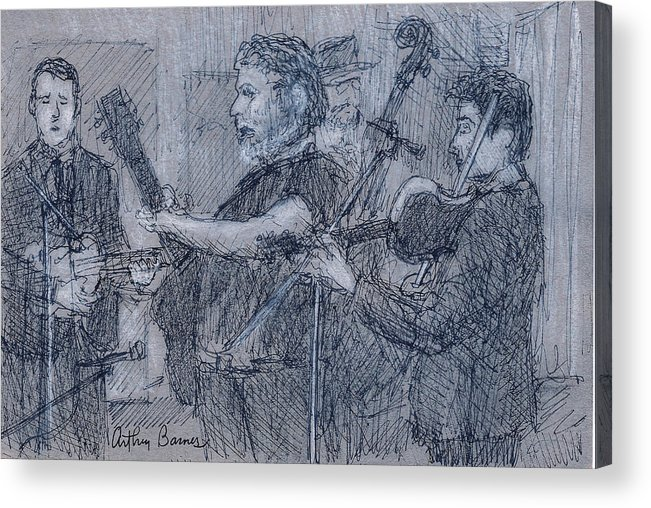 Musician. Drawing Acrylic Print featuring the painting Hardcore Grass by Arthur Barnes
