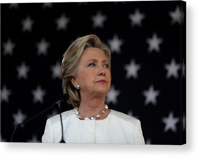 Nominee Acrylic Print featuring the photograph Hillary Clinton Campaigns Across by Justin Sullivan