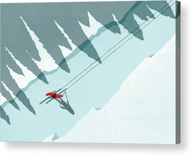 Ski Pole Acrylic Print featuring the digital art Illustration Of Man Skiing During by Malte Mueller