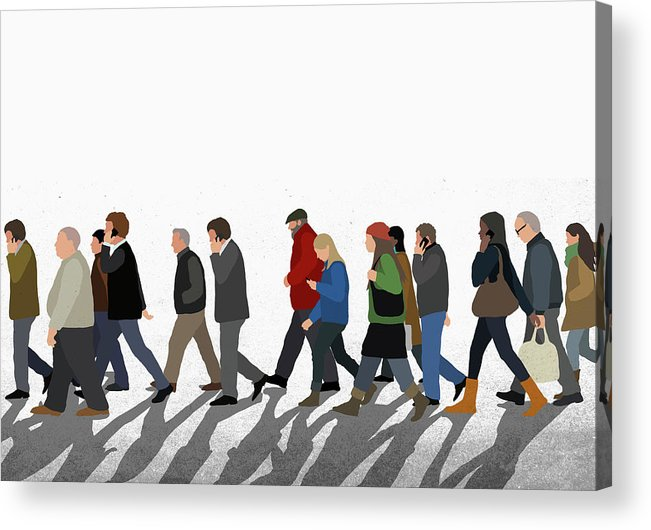Shadow Acrylic Print featuring the digital art Illustration Of People Walking On by Malte Mueller
