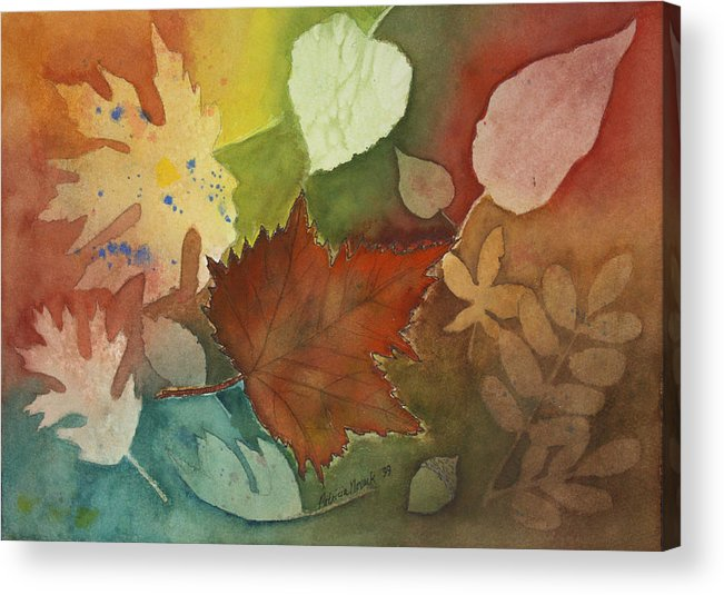 Leaves Acrylic Print featuring the painting Leaves Vl by Patricia Novack