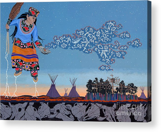 America Acrylic Print featuring the painting Lightning Walker by Chholing Taha
