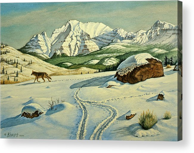 Landscape Acrylic Print featuring the painting Lone Tracker by Paul Krapf