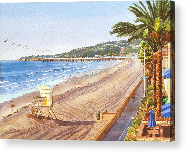 Mission Beach Acrylic Print featuring the painting Mission Beach San Diego by Mary Helmreich