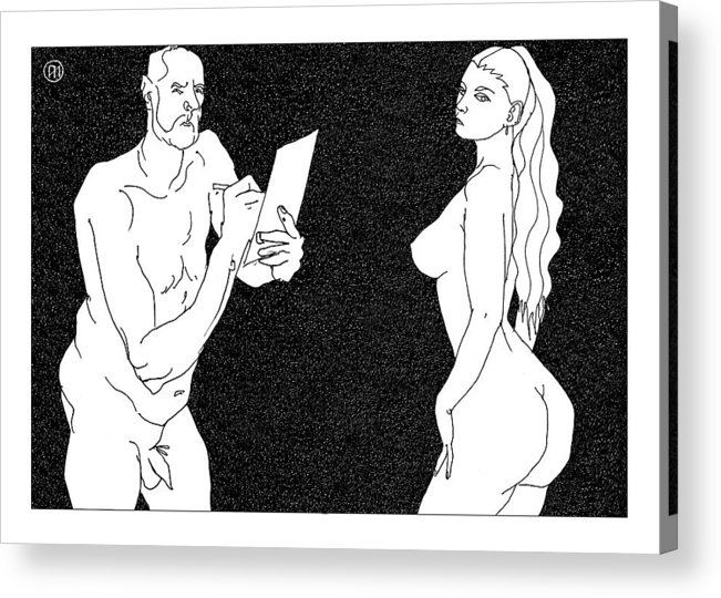 Art Acrylic Print featuring the digital art Model and artist 23 by Leonid Petrushin