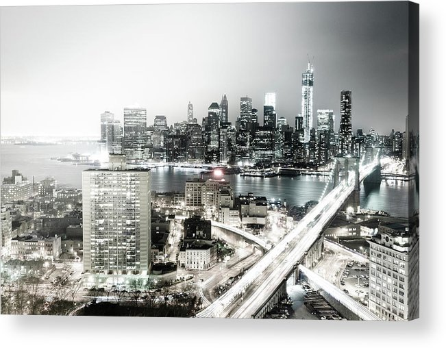 Lower Manhattan Acrylic Print featuring the photograph New York City Skyline At Night by Mundusimages