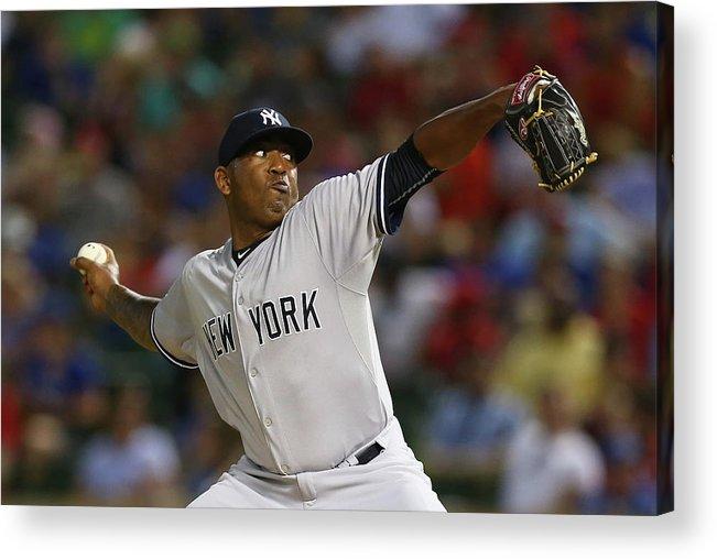 American League Baseball Acrylic Print featuring the photograph New York Yankees V Texas Rangers by Ronald Martinez