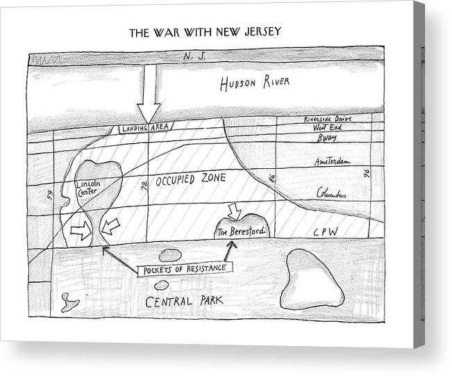 Saul Steinberg 118312 Steinbergattny  (war Map Of The City And New Jersey. Blueprints For A War.) Army Battle City Corps General Jersey Manhattan Map Maps Marine Marines Military Navy Neighborhoods New Nyc Regional Soldier Soldiers Urban War York Acrylic Print featuring the drawing New Yorker February 23rd, 1987 by Saul Steinberg