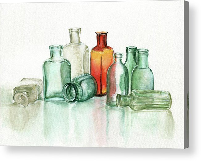 Material Acrylic Print featuring the photograph Old Pharmacys Glassware by Sergey Ryumin